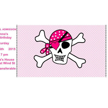 Pink Pirate Ticket Birthday Party Invitations