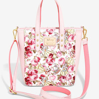 Loungefly Disney Beauty And The Beast Floral Crossbody Tote Bag