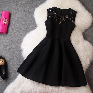 Winter Dress Red Sleeveless Sequined Mini Dresses Black Princess Office Casual Women Dress = 1932790788