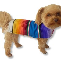 Yorkie Clothes - Handmade Dog Poncho From Authentic Mexican Blanket. Dog Apparel with Adjustable Neck and Chest. Cat Clothes - Dog Clothes for Small and Medium Size Dogs. Pets Clothes - Puppy Clothes - Premium Quality Dogs Clothes By K9 Ponchos (Fringed Ed