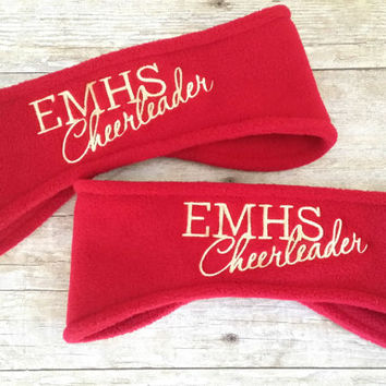 Cheerleading Ear Warmers - Personalized Cheerleader Ear Muff - Custom Tailgate - Personalized Headband - Cheer Mom - Cheer Dad - 9 Colors
