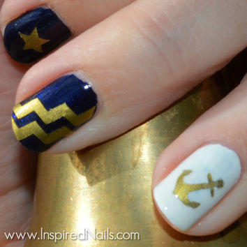 Anchors, Chevron Stripes & Stars Nail Decals Choice of Colors Gold, Silver, White, Red and More