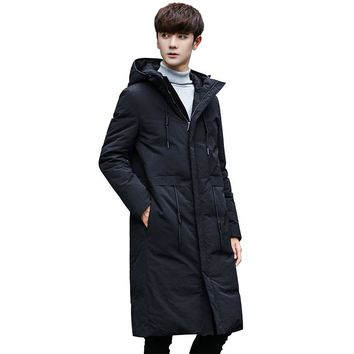 2017 Winter New men Even Hat Long Down Jackets Schoolboy Thickening Self-cultivation Loose Coat Man parka Free shipping