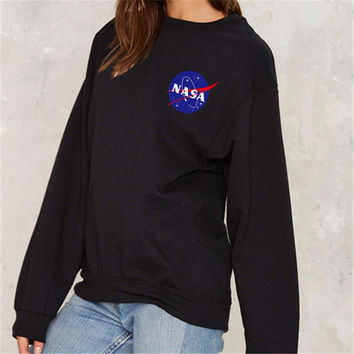 "Fashion Casual ""NASA"" Letter Graphics Print Round Neck Long Sleeve T-shirt Sweater"