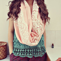 The ricki scarf. vintage lace and linen fabric. huge oversized chunky scarf