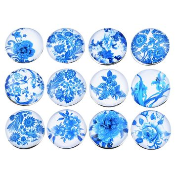 12PCs Mixed Blue Flowers Snap Button 18mm