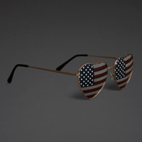American Flag Heart Aviator Sunglasses