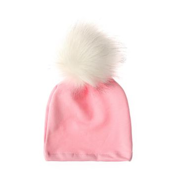 1PC Cute Children Cotton Fur Ball Cap Poms Winter Warm Hat Girls Boys Colorful Knitted Beanies Cap Brand New Thick Female Hat
