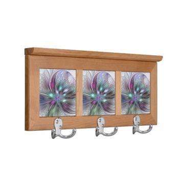 Colorful Fantasy, abstract and modern Fractal Art Coat Rack