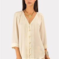 Elana Button Down Top - Ivory at Necessary Clothing
