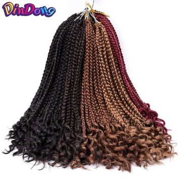 HAIR EXTENSIONS 12 Inch Box Braids Curly Ends Synthetic 24 Strand locks (6 Colors)