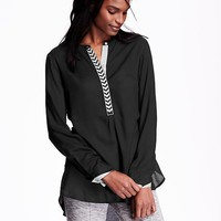 Embroidered-Placket Tunic