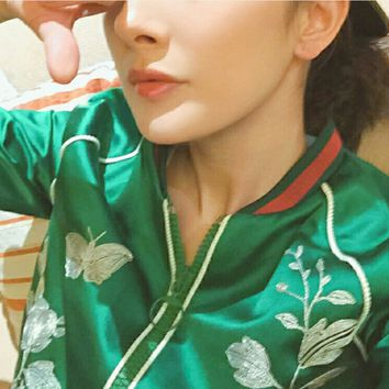 Green flower embroidered satin baseball jacket suit jacket female
