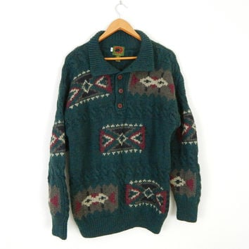 Men's Southwestern Green Wool Sweater - Size Large - Cozy Oversize 90s Cable Knit Pullover Jumper