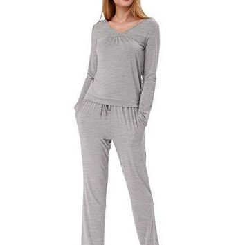 Women Cozy 2 Piece Sleepshirt Top and Bottom with Elastic Waistand Size S Gray