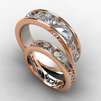 Wedding band set, rose gold, white gold, diamond wedding band, mens diamond ring, filigree, diamond wedding, men rose gold, two tone