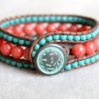 Coral Jade Bohemian leather wrap bracelet, leather cuff, coral, pink, red, turquoise, trendy jewelry