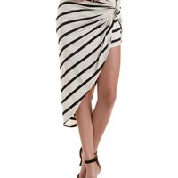 Black/Ivory Striped & Knotted Asymmetrical Skirt by Charlotte Russe