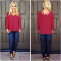 On The Edge Cutout Blouse - BURGUNDY