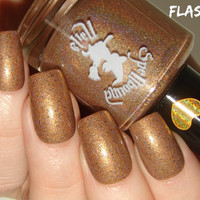 FULL SIZE CHARITY Polish - Racing Into Our Hearts - Custom Butterscotch Holographic Flakie April Charity Nail Polish