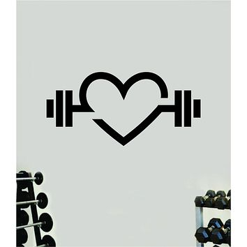 Heart Weights Fitness Gym Wall Decal Home Decor Bedroom Room Vinyl Sticker Art Teen Work Out Quote Beast Strong Inspirational Motivational Health School Lift