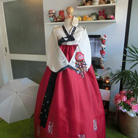 "Korean Traditional Clothes Womens Dress - Handmade white Red hanbok 34"" chest 161 cm. tall"