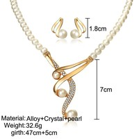 Personalized pearl clavicle necklace pearl necklace earrings set two-piece