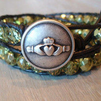 Leather wrap bracelet ' Irish Claddagh ' irish by slashKnots