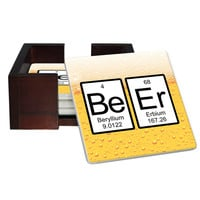 Beer Periodic Table of Elements Coaster Set - Sandstone Tile 4 Piece Set - Caddy Included