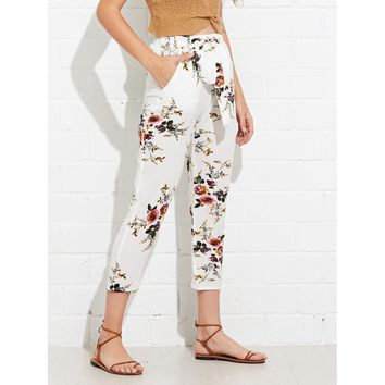 Self Belted Botanical Print Crop Pants