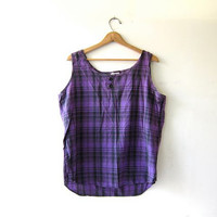 20% OFF SALE Vintage plaid tank top. cotton tank top. oversized boxy tank top. loose fit tank top.