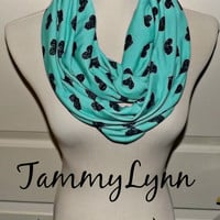 NEW!!  Deep Mint Jersey Blend Knit with Black Stamped Hearts Infinity Scarf Women's Accessories