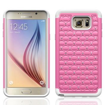 Galaxy Note 5 Case, Crystal Rhinestone Studded Hybrid Dual Layer Shock Absorbent Case for Samsung Galaxy Note 5 - Pink/White