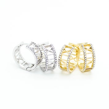 Roman numerals hoop earrings