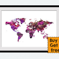 World map poster World map print Watercolor world map illustration Home decoration Office wall decor Kids room wall art Christmas gift  W345