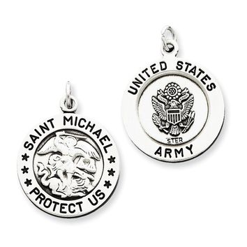 Sterling Silver Antiqued Saint Michael Army Medal