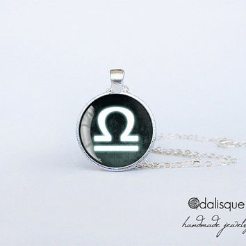 Libra sign pendant European Zodiac necklace air sign gift jewelry silver for him for her jewellery key ring