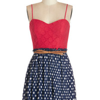 ModCloth Americana Spaghetti Straps Twofer Rock and Rollick Dress