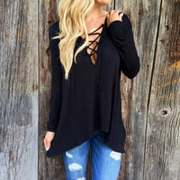 Lace-up Deep V Neck Long Sleeve Hooded Tee