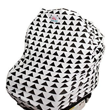 4-in-1 Baby Car Seat Cover - Versatile, Stretchy Fabric Canopy - Shopping Cart or Breastfeeding Cover Up - Soft, Breathable Swaddle Blanket for Infants, Newborns, Toddlers