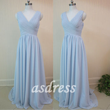 Elegant Deep V-neck beach Bridesmaid dress Plus size bridesmaid dress Spaghetti Strap Sky Blue Bridesmaid Long Bridesmaid Prom Evening Dress