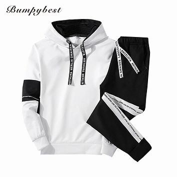 Men Set Clothing Hoodies Pants Sets Sweatshirt Cotton Casual Patchwork Tracksuit Men 2 Pieces