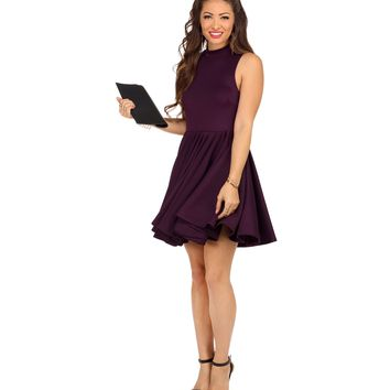 Plum Party Girl Skater Dress