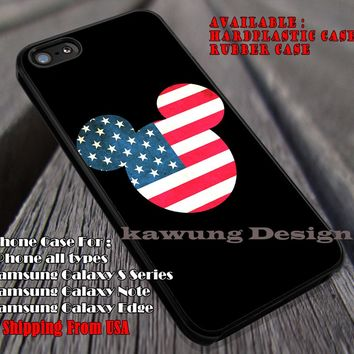 Head American Flag Mickey Mouse iPhone 8+ 7 6s Cases Samsung Galaxy S8 S7 edge NOTE 8 5 4