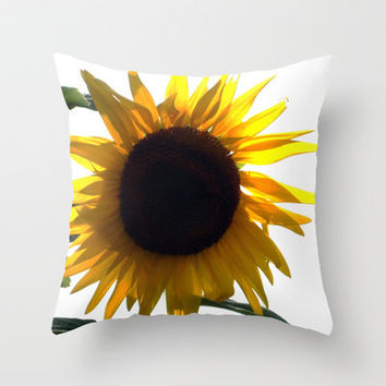 A Sunflower Throw Pillow by Stacy Frett