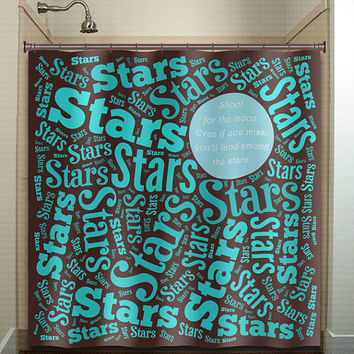 Shoot For The Moon Land Among The Stars shower curtain bathroom decor fabric kids bath window curtains panels bathmat valance