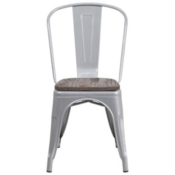 Silver Metal Stackable Tolix Farmhouse Chair with Wood Seat