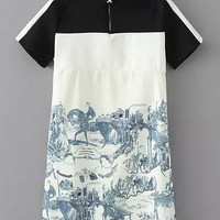 Ink Painting Short Sleeve Shift Mini Dress with Zipper