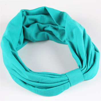 New Cotton Elastic Sports Headband Wide Turban Headbands for Women HA072