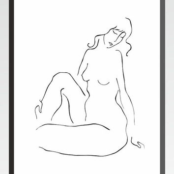 Minimalist nude sketch art print. Black and white line drawing of a woman sitting. Elegant feminine curves.
